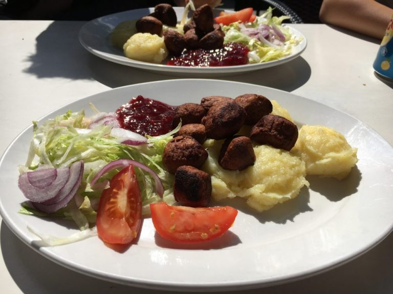 Meatballs and mash in Stockholm