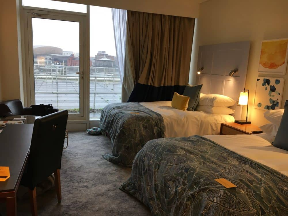 Where to stay in Cardiff Bedroom in voco St Davids hotel overlooking Cardiff Bay