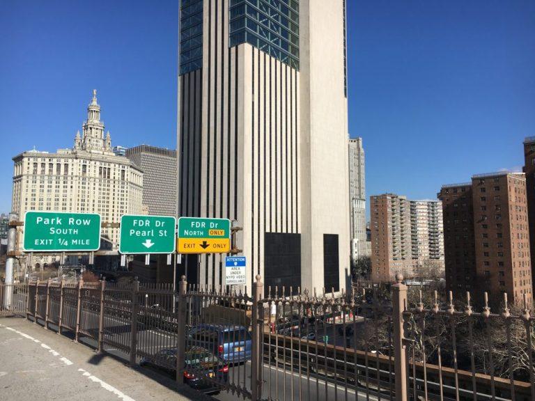 On Brooklyn Bridge in New York in February
