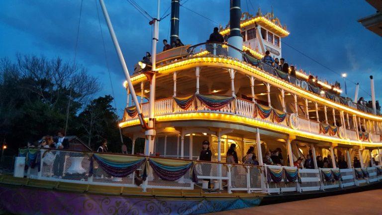 Tokyo Disneyland rides & attractions mark twain riverboat at night