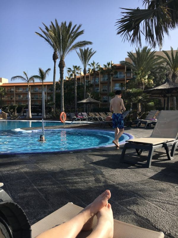 Lying by the pool in Fuerteventura in February