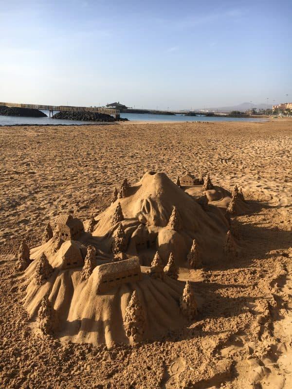 Sandcastle sculpture in Fuerteventura in February
