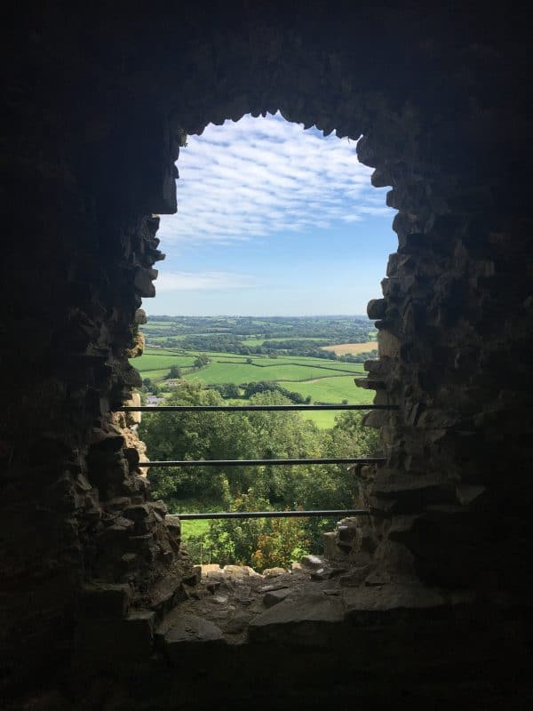 View in to distance from Inside Llawhaden castle tower