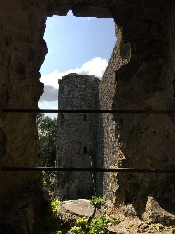 Inside Llawhaden castle tower