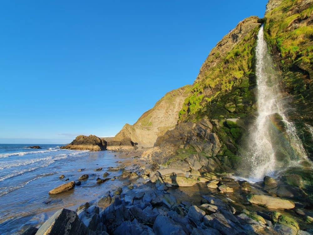 Waterfalls around Pembrokeshire Tresaith beach waterfall